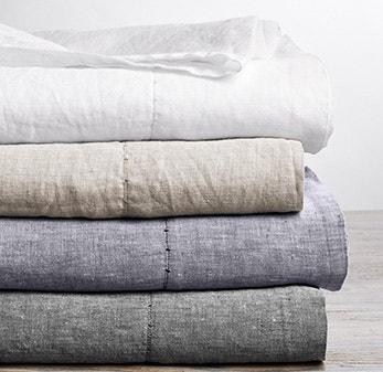 organic linen sheet stack