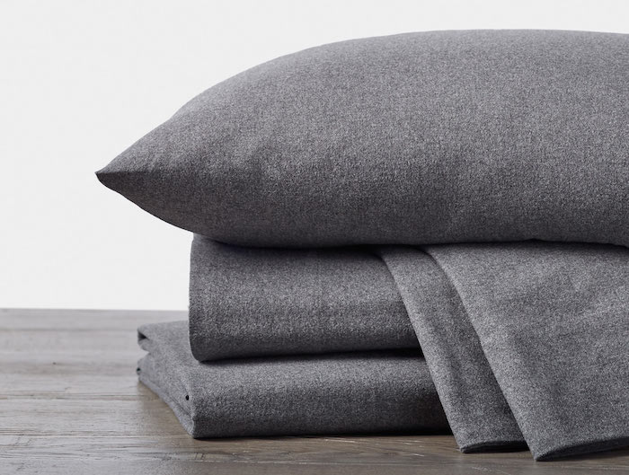 cloud brushed organic flannel sheets in charcoal