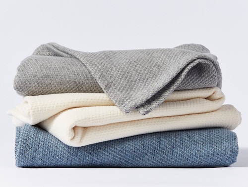stack of Sequoia washable organic cotton and wool blankets